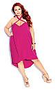 Plus Size X Front Dress - hot pink