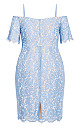 Plus Size Lace Whisper Dress - sky
