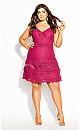 Plus Size Nouveau Lace Dress - fuchsia