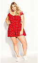Plus Size Love Spot Playsuit - red