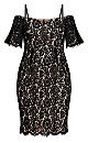 Plus Size Lace Whisper Dress - black