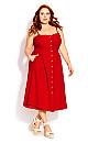 Plus Size Scallop Button Dress - red