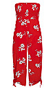 Plus Size Love Floral Jumpsuit - red