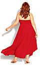 Plus Size Plait Detail Maxi Dress - red