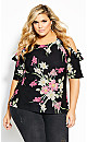 Lady Floral Top - black