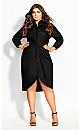 Plus Size Chambray Twist Dress - black