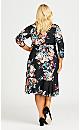 Plus Size Arrangement Wrap Dress - black