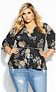 Plus Size Golden Hydrangea Top - black