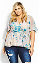 Plus Size Dreamy Floral Top - straw