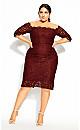 Plus Size Lace Love Dress - bordeaux