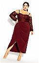 Plus Size Romantic Rosa Maxi Dress - bordeaux