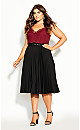 Plus Size Pleated Belt Skirt - black