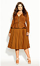Plus Size Pleated Belt Skirt - copper