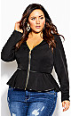 Plus Size Sweet Plunge Jacket - black