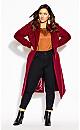Plus Size Romantic Luxe Coat - cerise
