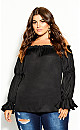 Plus Size Off Shoulder Frill Top - black