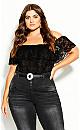 Plus Size Miss Lace Bodysuit - black