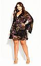 Plus Size Malaga Floral Dress - black