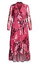 Plus Size Sunset Floral Maxi Dress - fuchsia
