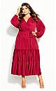 Plus Size Pretty Tier Maxi Dress - sangria