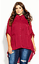 Plus Size Elegant Stripe Shirt - sangria