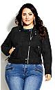 Plus Size Chic Biker Jacket - black