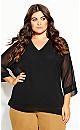 Plus Size Sheer Sleeve Top - black