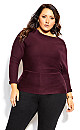 Plus Size Fitter Rib Jumper - plum