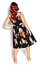 Plus Size Autumn Rose Dress - black floral