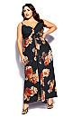 Plus Size Autumn Rose Maxi Dress - black floral