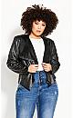 Plus Size Sleek Waterfall Jacket - black