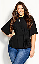 Plus Size Knot Me Up Top - black