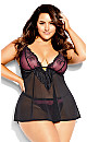 Plus Size Abbie Babydoll - black