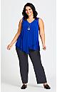 Plus Size Emma Drape Top - cobalt