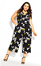 Plus Size Crepe Floral Jumpsuit - black