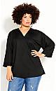 Plus Size Effortless Sleeve Top - black