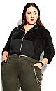 Plus Size Crop Teddy Jacket - black