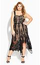 Plus Size Glamorous Lace Dress - black