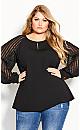Plus Size Lust Sleeve Top - black