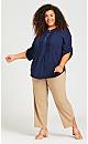 Plus Size Pleat Zip Blouse - navy