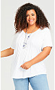 Plus Size Pleated Knit Top - white