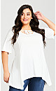 Plus Size Knotted Cage Tunic - ivory