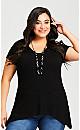 Plus Size Rib Seam Tunic - black