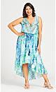 Plus Size Hi-low Beaded Dress - aqua