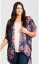 Plus Size Tiarne Beaded Kimono - scarlet
