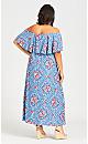 Plus Size Off Shoulder Maxi Dress - blue