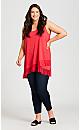 Plus Size Frill Hem Tunic - scarlet