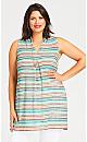 Plus Size Kyla Stripe Tunic - turquoise