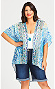 Plus Size Ikat Beaded Kimono - aqua