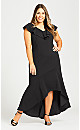 Plus Size Destiny Ruffle Dress - black